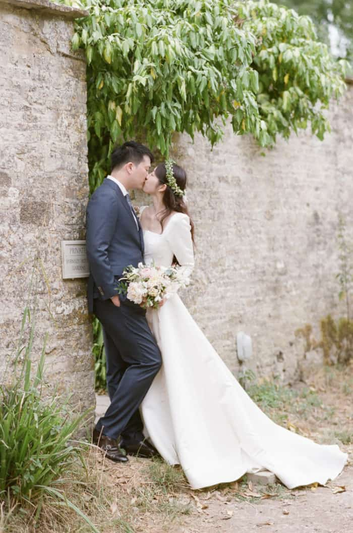 Wedding Couple At Barnsley House in the Cotswolds in England