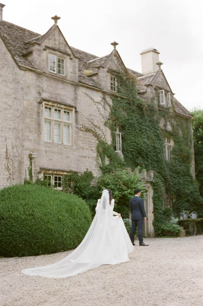 First Look Of Bride And Groom At Barnsley House In The Cotswolds In England