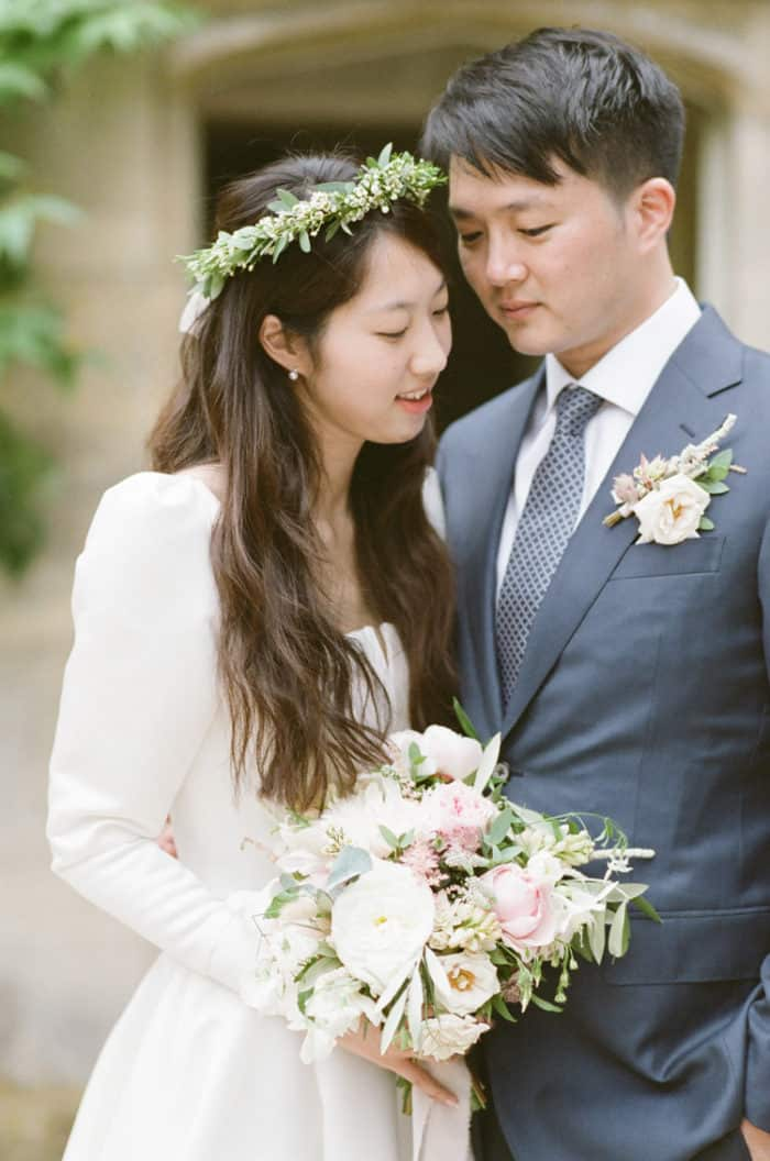 Couple Portraits On Their Wedding Day At Barnsley House In The Cotswolds In England