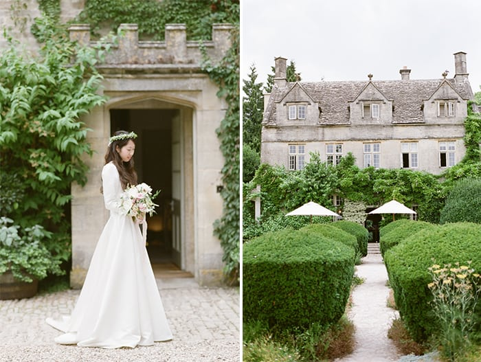 Bridal Portraits On Her Wedding Day At Barnsley House In The Cotswolds In England