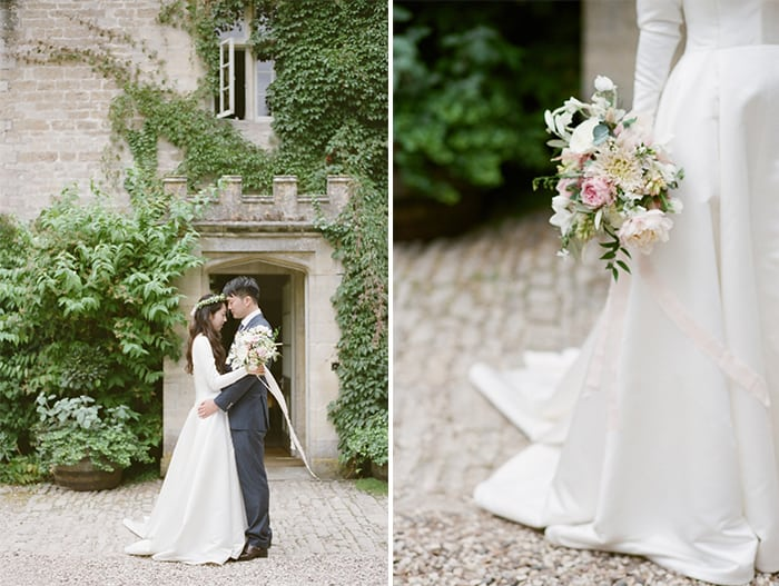 British Couple Portraits On Their Wedding Day At Barnsley House In The Cotswolds In England