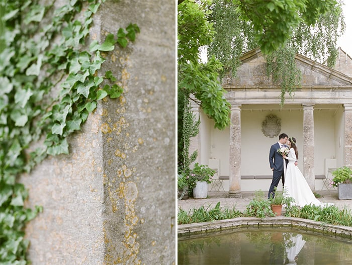 Just Married British Couple Walking In The Gardens Of  The Barnsley House In The Cotswolds In England On Her Wedding Day