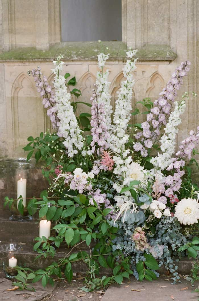 Wedding Ceremony Floral Details At The Barnsley House In The Cotswolds In England On Her Wedding Day
