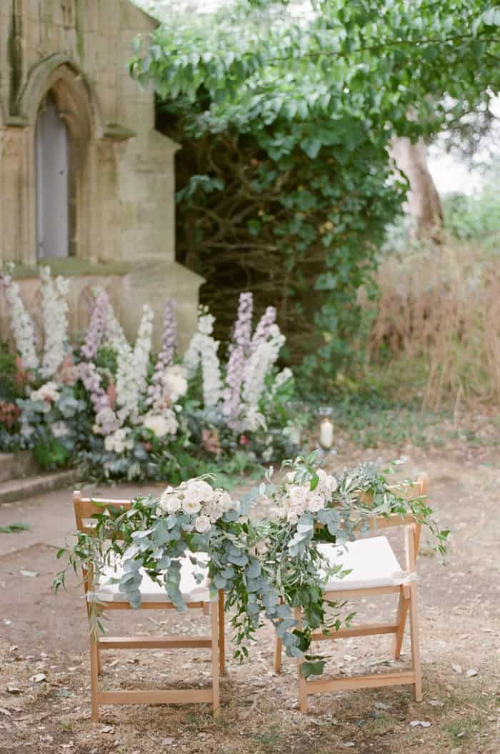 Wedding Ceremony Chairs At The Barnsley House In The Cotswolds In England On Her Wedding Day