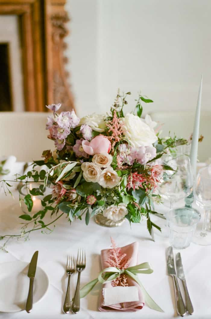 Floral Reception Details At The Barnsley House In The Cotswolds In England On Her Wedding Day
