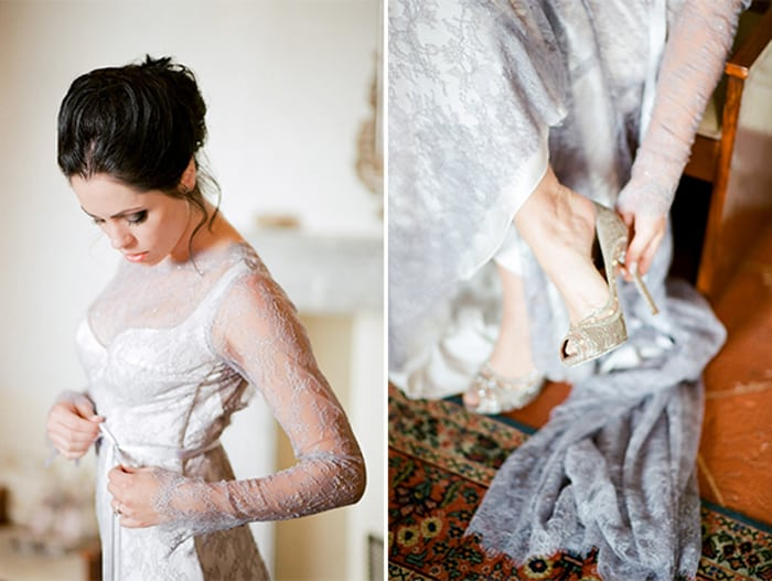 Bride Getting Ready Into Her Wedding Gown At Borgo Pignano In Tuscany In Italy With Sposiamovi Events