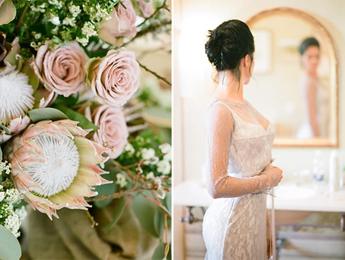 Bride Looking Into The Mirror At Borgo Pignano In Tuscany In Italy With Sposiamovi Events