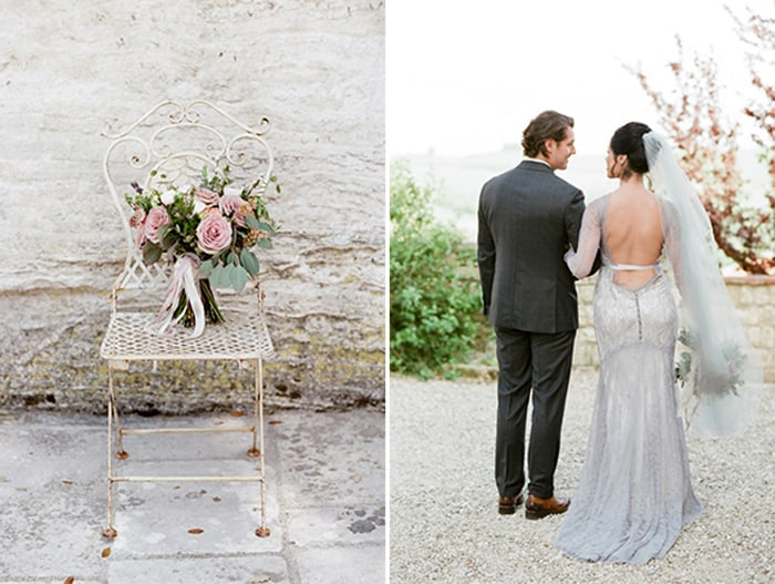 Bride And Groom Looking At Each Other At Borgo Pignano In Tuscany In Italy With Sposiamovi Events