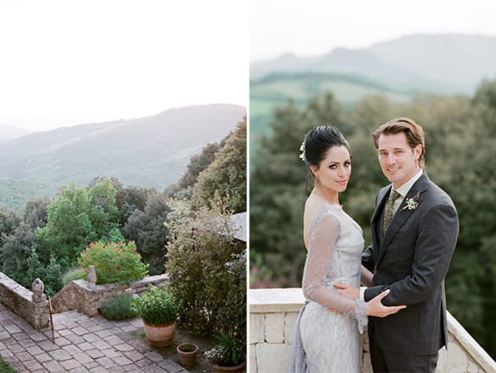 Wedding Couple Enjoying Cocktail Hour At Borgo Pignano In Tuscany In Italy With Sposiamovi Events