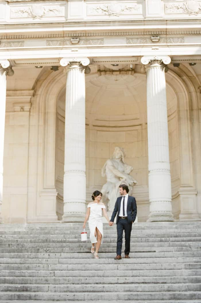 Bride And Groom Walking In Paris Engagement With WEP