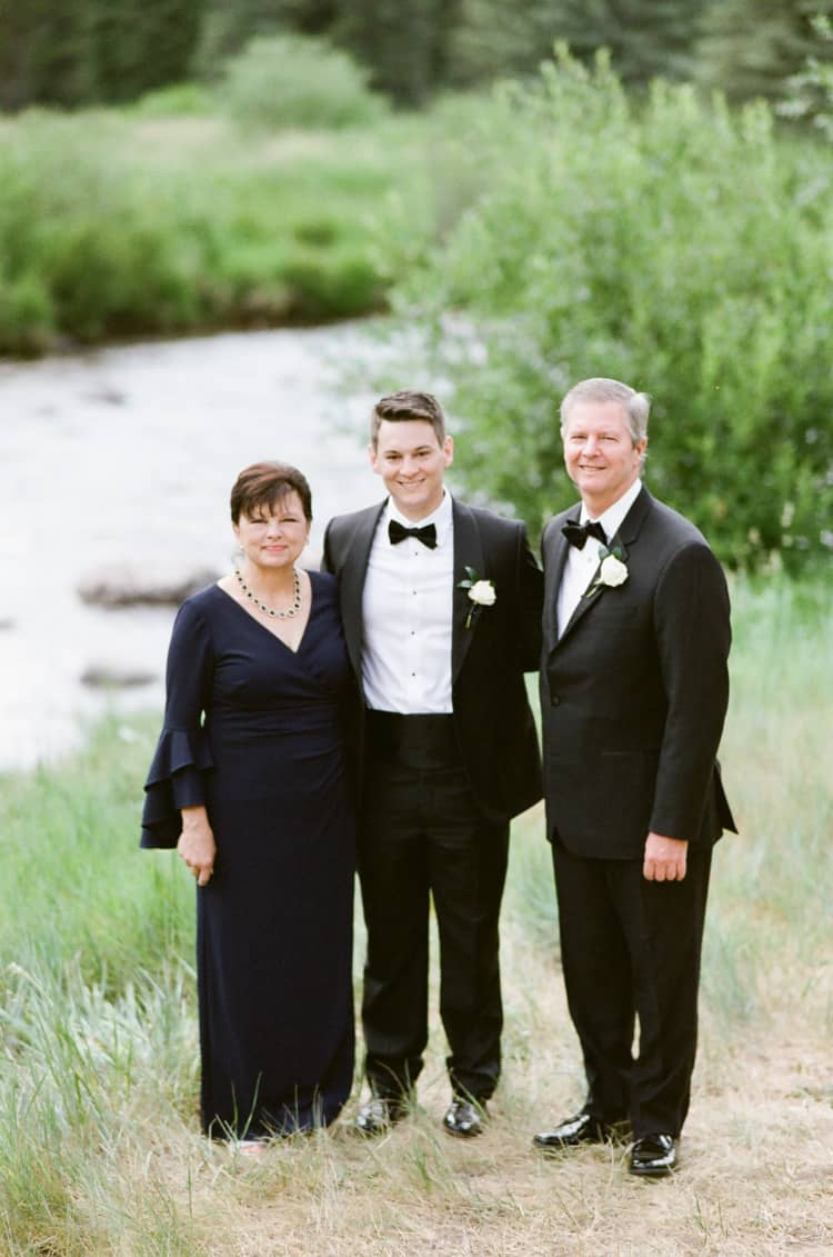 Groom With Parents At Four Seasons Vail Wedding With White Birch Weddings