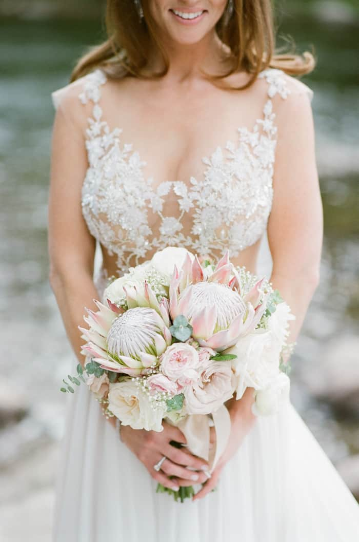 Bridal Bouquet At The Wetsin Riverfront And Spa In Beaver Creek With Calluna Events