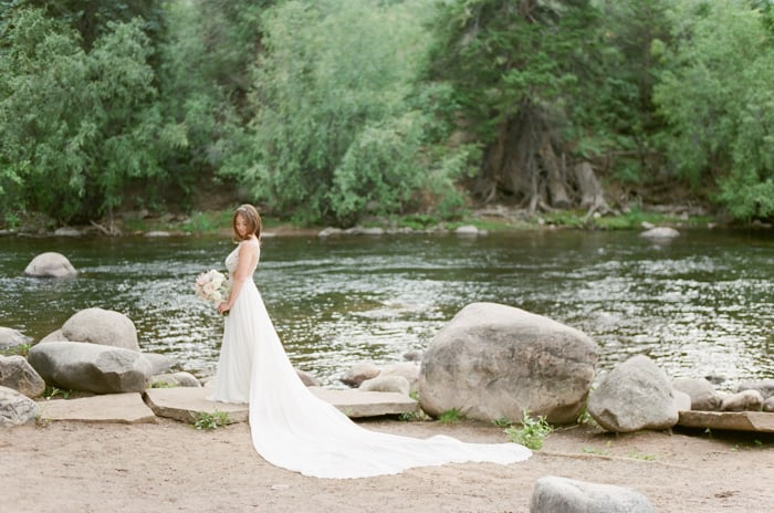 Galia Lahav Bride In Front Of The River At The Westin Riverfront And Spa In Beaver Creek With Calluna Events