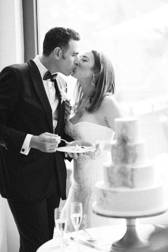 First Kiss After Cake Cutting At Jewish Wedding At The Westin Riverfront And Spa In Beaver Creek With Calluna Events
