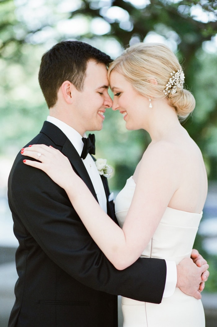 Bride and groom on their wedding day at The Rookery in Chicago