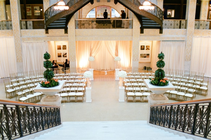 Classic wedding set up inside The Rookery in Chicago