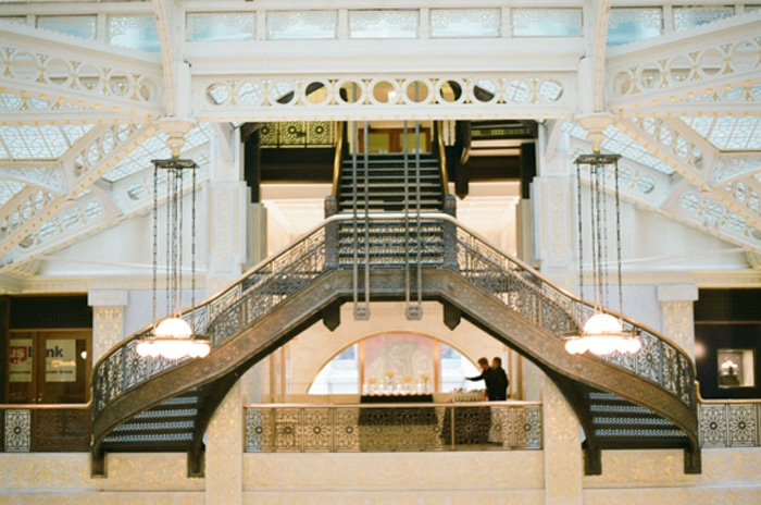 Grand staircase at The Rookery, one of the best wedding venues in Chicago