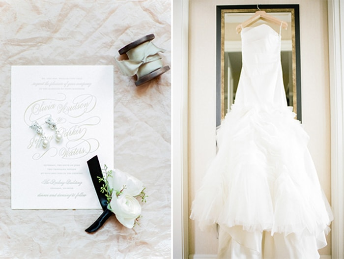 Wedding gown and wedding details at The Rookery in Chicago
