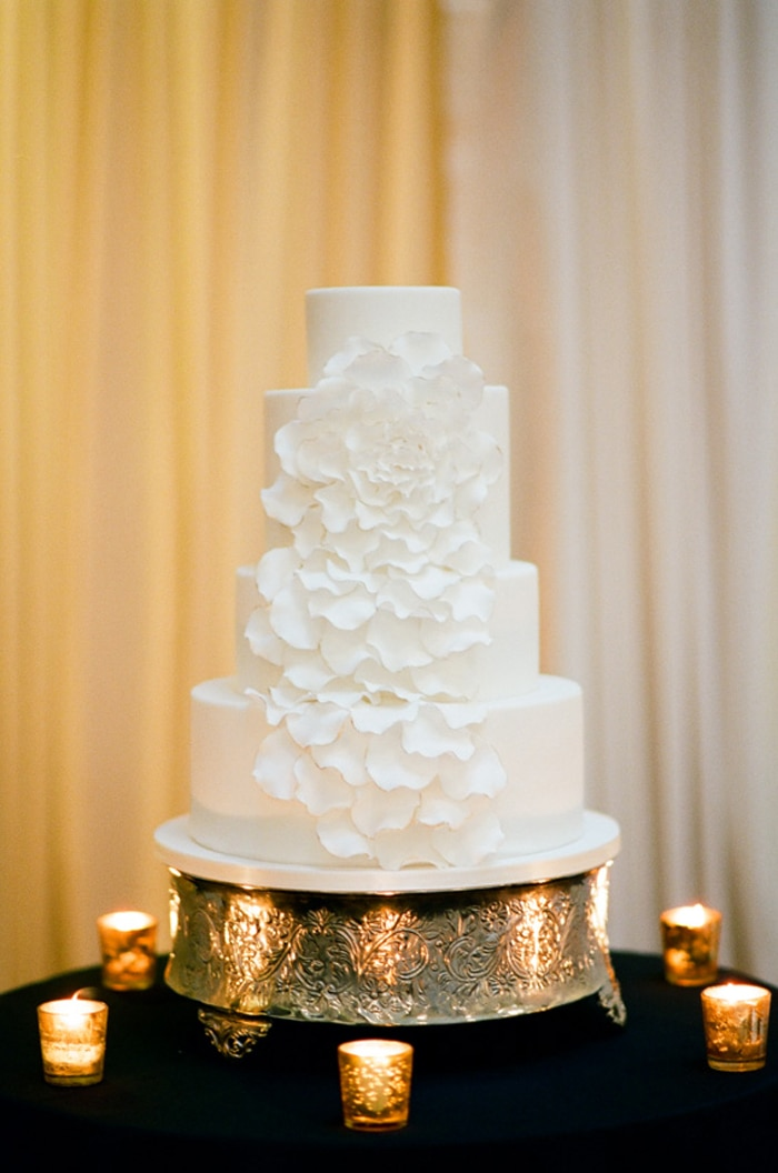 White wedding cake at a reception at The Rookery in Chicago