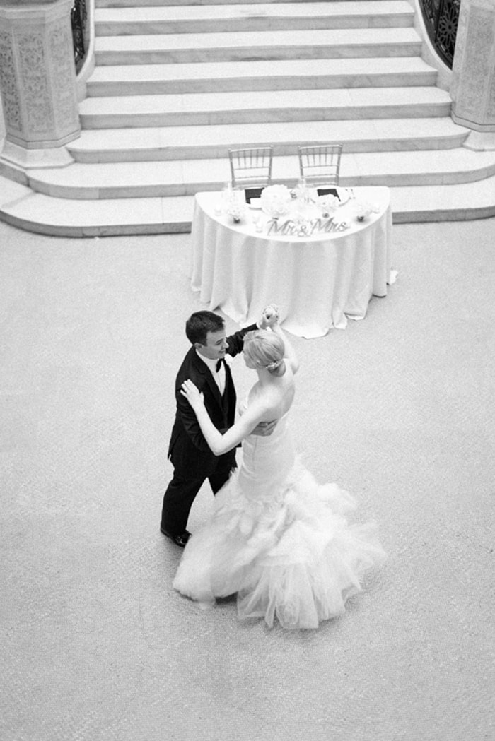 Bride and groom share their first dance at The Rookery in Chicago