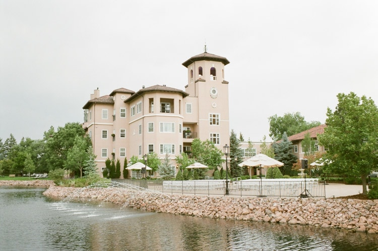 Wedding ceremony and reception area on lakeside terrace at the Broadmoor