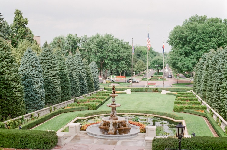 Broadmoor's lush outdoor lawn and terrace with large fountain