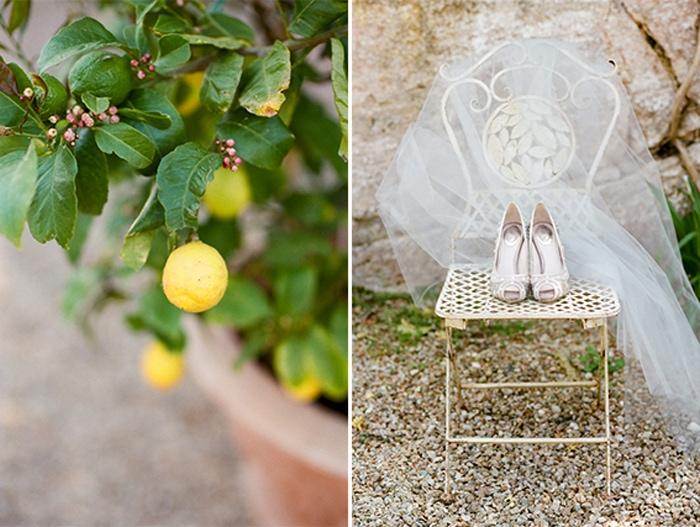 Bridal shoes and veil at Borgo Pignano in Tuscany, Italy