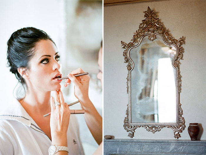 Bride has her makeup done before her destination wedding in Tuscany