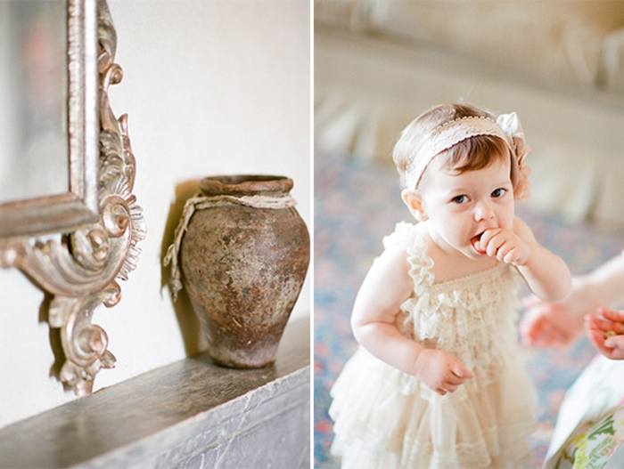 Baby in a white dress at a destination wedding in Tuscany Italy
