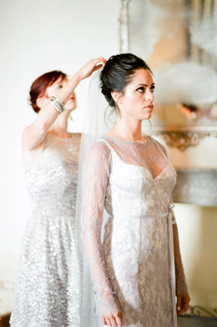 Bride gets ready for her destination wedding ceremony at Borgo Pignano in Tuscany