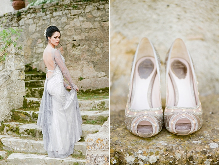 Bride poses on the steps of Borgo Pignano in Tuscany, Italy