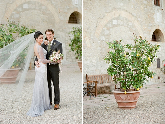 Bride and groom on their wedding day in Tuscany Italy