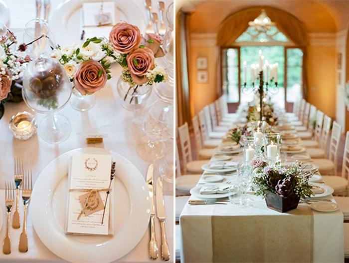 Intimate wedding reception at Borgo Pignano in Tuscany, Italy
