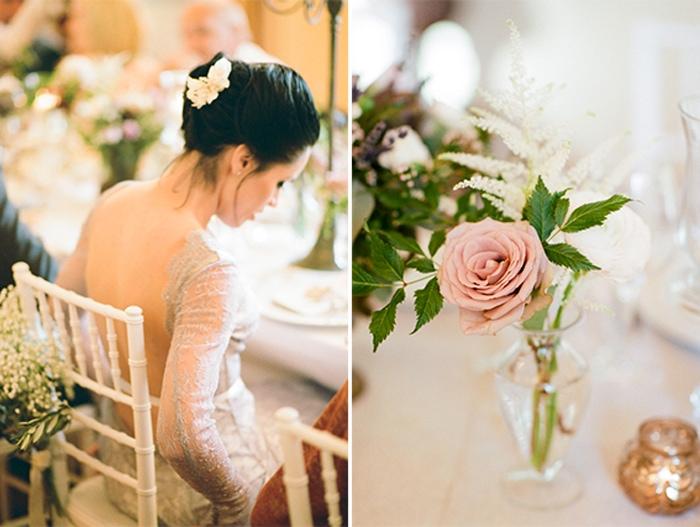 Bride sitting at a reception table at Borgo Pignano wedding venue in Tuscany