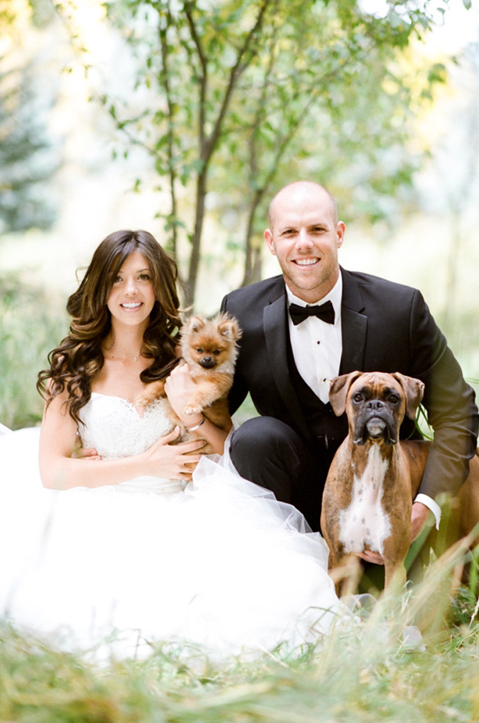 Bride and groom posing with their pet dogs in Telluride CO