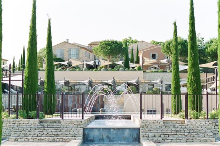 Exterior fountain at La Coquillada in Provence