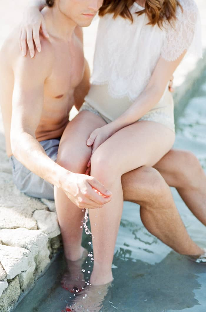 Engaged Couple Hanging Out At Pool At La Coquillade At Tamara Gruner Workshops