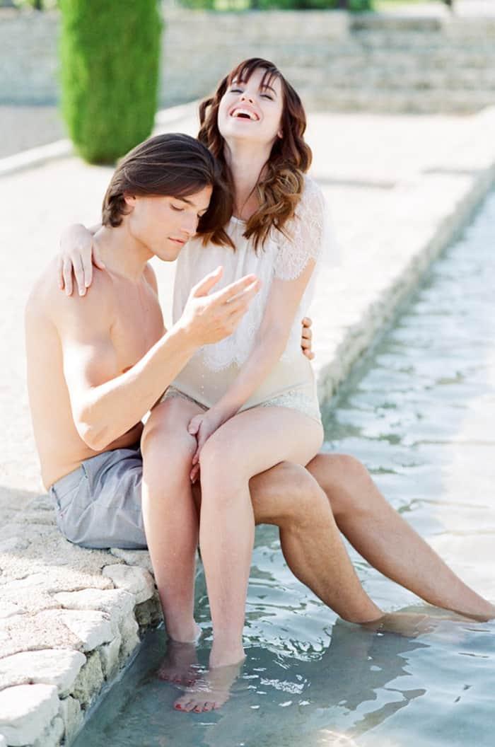 Engaged Couple At Pool At La Coquillade At Tamara Gruner Workshops