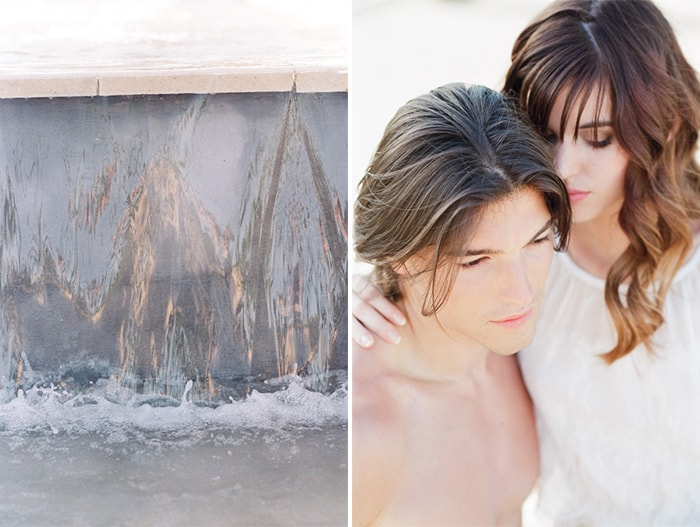 Engaged Couple At La Coquillade Pool At Tamara Gruner Workshops