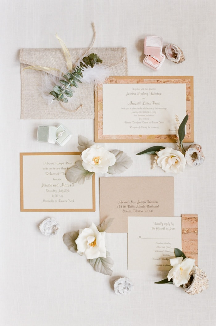 Elegant invitation suite surrounded by flowers