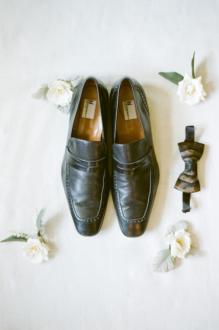 Men's wedding shoes and bowtie
