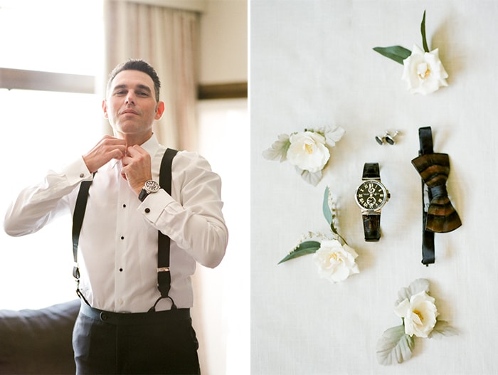 Groom gets ready for his wedding at the Westin Riverfront Resort & Spa Beaver Creek
