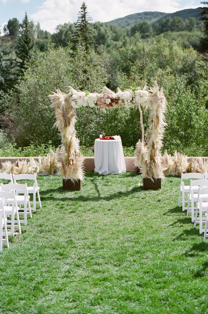 Feathergrass chuppah for a Jewish wedding at the Westin Riverfront Resort & Spa in Beaver Creek