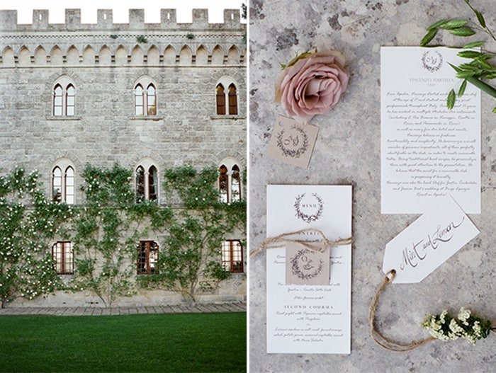 Wedding Invitation Suite Details Decor At Borgo Pignano In Tuscany In Italy With Sposiamovi Events