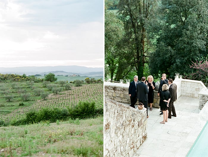 Wedding Guests Enjoying Cocktail Hour At Borgo Pignano In Tuscany In Italy With Sposiamovi Events
