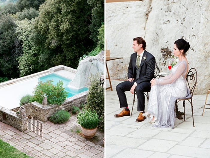 Wedding Couple Enjoying Cocktails At Borgo Pignano In Tuscany In Italy With Sposiamovi Events