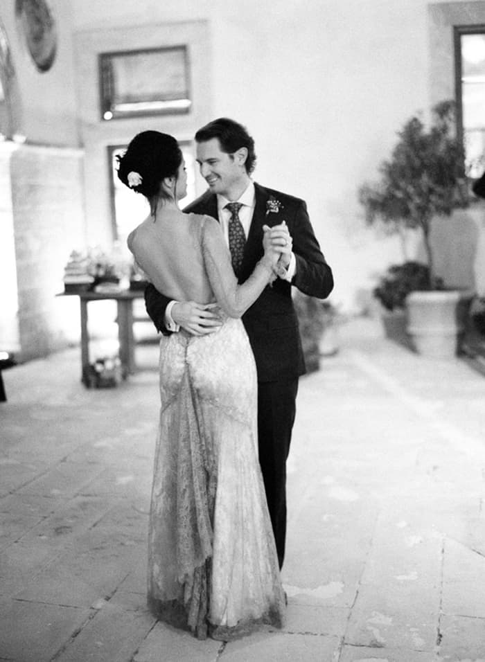 Bride And Groom Dancing At Borgo Pignano In Tuscany In Italy With Sposiamovi Events