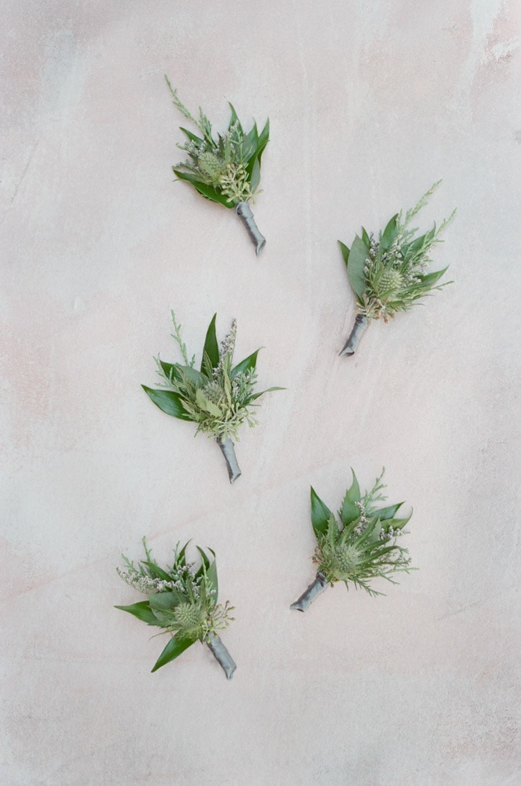 Boutonnieres made of greenery