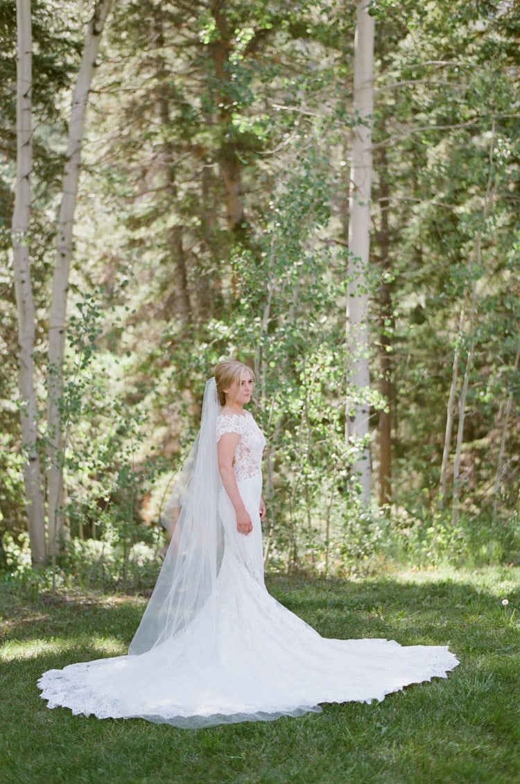 Bridal portrait at Eaton Ranch in Vail