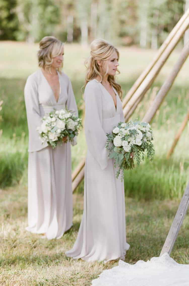 Bridesmaids At Eaton Ranch Wedding Ceremony In Vail With Bella Event Design And Planning